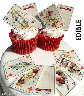 25 Alice in Wonderland Edible Playing cards Cupcake Toppers | Cake | decorations