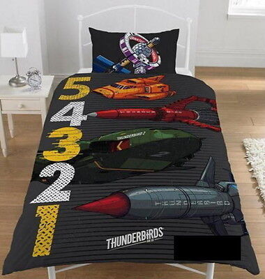 Thunderbirds 5 4 3 2 1 Single Duvet Quilt Cover Set Boys Bed Kids Bedroom