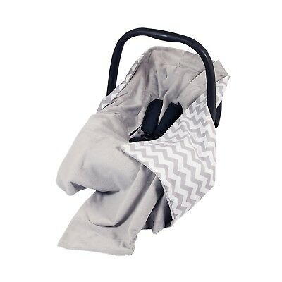 New Car Seat Baby Wrap - Travel Wrap / Car Seat Blanket - Grey & White Chevron