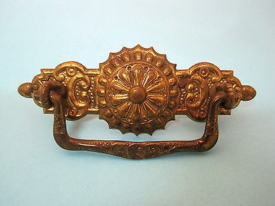 "Victorian Pressed Metal Drawer Pull Very Fancy 4 1/2 x 1 5/8""  Great Shape Dr3"