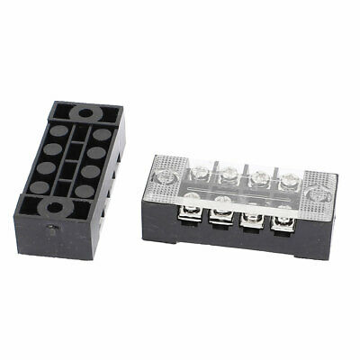 2 Pcs 600V 15A 4P Dual Row Electric Barrier Terminal Block Wire Connector Bar