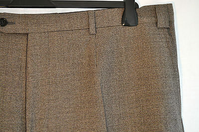 """Vintage Messori beige wool tiny hound tooth trousers W 42"""" made Italy Mod Skin"""