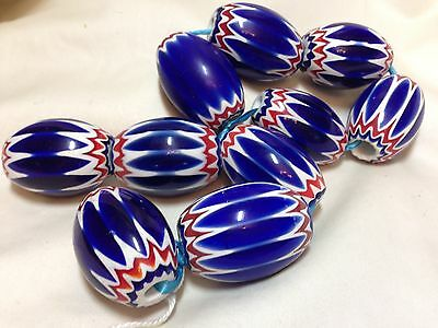 Cobalt 6-Layer Chevron Glass Flat End Oval Bead, Approx. 24x29mm, One Bead
