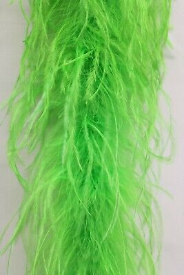 2 Ply OSTRICH FEATHER BOA - LIME GREEN 2 Yards Costumes