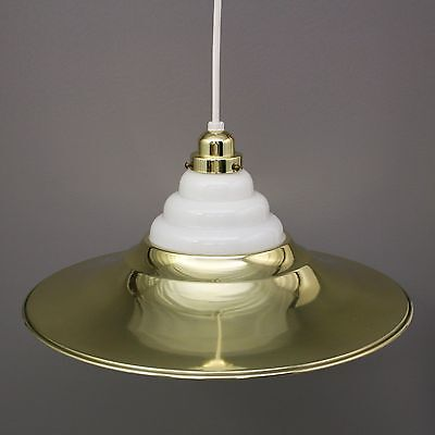 "Vtg 18"" Mid Century Modern White Milk Glass Hanging Brass Cymbal Light Spot Lamp"
