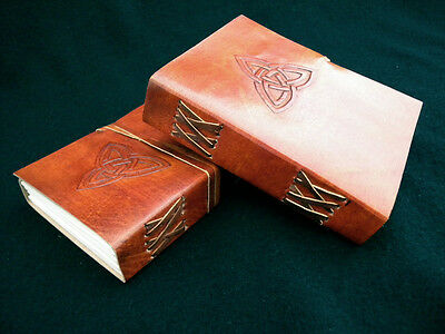Pagan Wicca TRQUETRA Handmade Leather Journal Book of Shadows Grimoire Diary