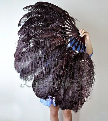"""LARGE OSTRICH FAN - BLACK Feathers 50"""" x 30"""" Sally Rand/Burlesque/Costume/Show"""