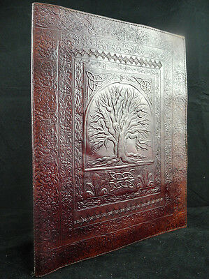 Tree of Life - Luxury Handmade Leather A4 Portfolio - or Wicca Book of Shadows