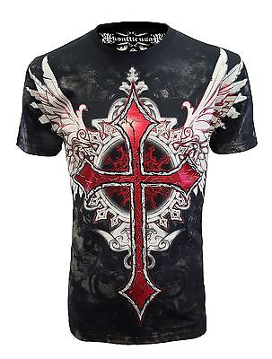 39bbd301 KONFLIC NWT MEN'S Giant Cross Graphic Designer MMA Muscle T-shirt ...