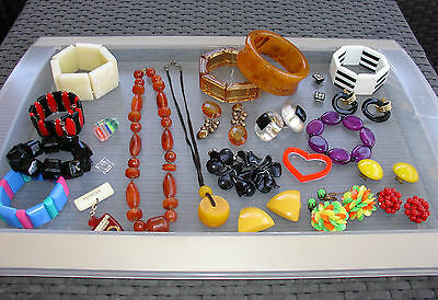 Vintage LOT LUCITE Rootbeer Cherry Butterscotch Earring Necklace Bangle 32 pc