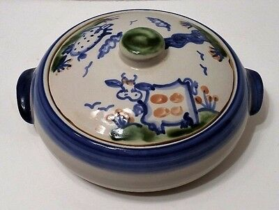 "M.A. Hadley Pottery 10"" Covered Casserole Dish Blue Pig Cow Farm"