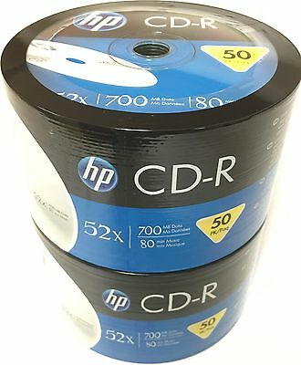 100 HP CD-R CDR 52x Logo Blank Recordable Disc Media 80Min 700MB Plastic Wrap