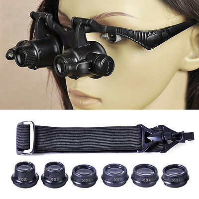 25X Magnifier Magnifying Eye Glass Loupe Jeweler Watch Repair Kit With LED Light