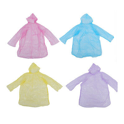 10Pcs Disposable Hooded Poncho Emergency Raincoat Adult Travel S9