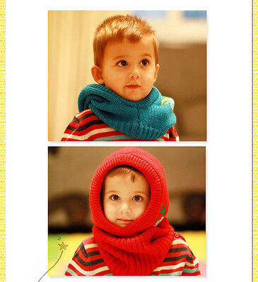 Childrens Unisex Beanie Hood Hoodie Scarf Wrap Winter Boy Girl Kids Red New