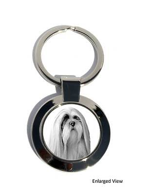 Lhasa Apso Dog Round Chrome Plated Keyring Boxed Gift