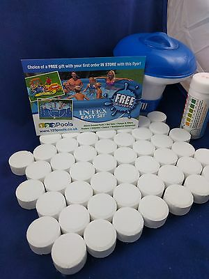 50x20g Chlorine Tablets Pool Hot Tub Spa + Dispenser + Testing strips FULL KIT!