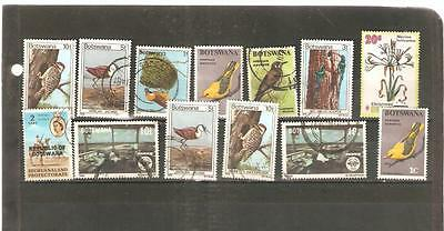 pk16392:Stamps-Lot of 14 Assorted Botswana - Used & Mint Hinged