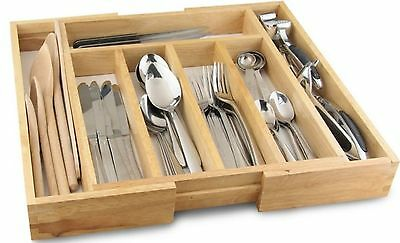 Expandable Wooden Cutlery Holder Tray Expands 32-58 cm Kitchen Utensil Organizer