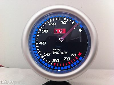 "Vacuum WHITE LED gauge meter instrument auto car vehicle 52mm 2"" Smoked Lens"