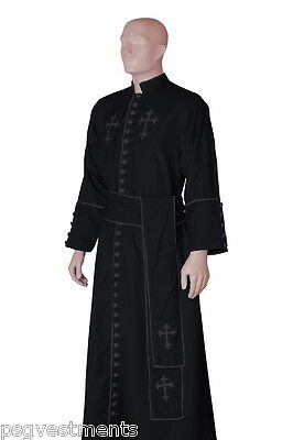 Black Clergy robe with grey trims & crosses / minister semi lined cassock robe