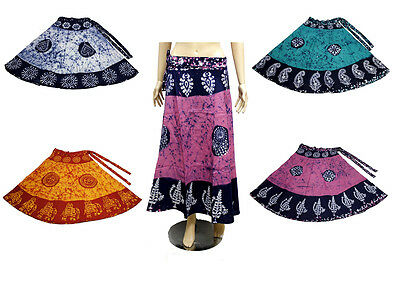 5pcs-100pcs Cotton Batik Printed Women's Long Wrap Around Skirts Wholesale Lot