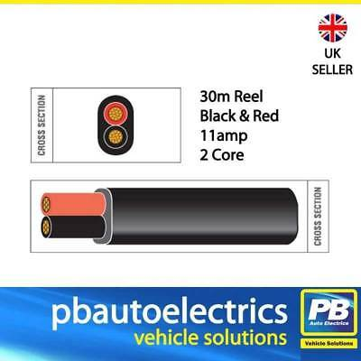 30m Black & Red Thin Wall 11amp 2 Core Auto Cable Flat Twin Black Sheath TW02/06