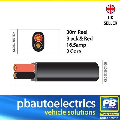 30m Black & Red Thin Wall 16.5 amp 2 Core Auto Cable Flat Twin Black TW02/01