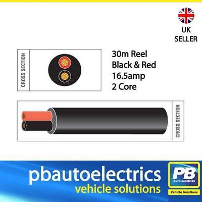 12v 3 core Round Thinwall Automotive wire Red//Black//Green 14amp 16.5amp 21amp