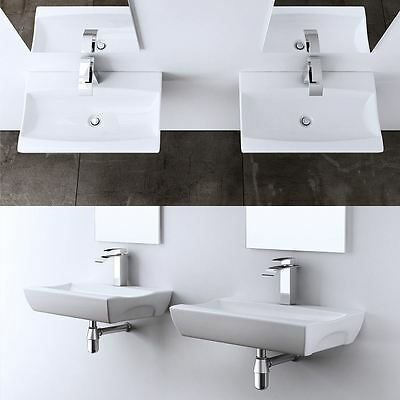 Durovin Basin Sink Wall Hung Mounted Countertop Rectangle Cloakroom Curved Dish