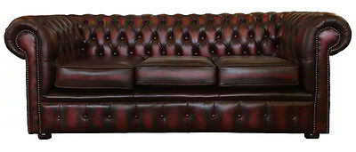 Vintage Style Chesterfield Genuine Leather Three Seater Sofa Antique Oxblood Red