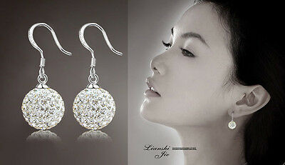 925 Silver Plated Crystal Women Fashion Soft Earrings Nice Studs Stud Hot Ear