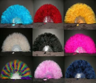 "MARABOU FEATHER FAN 20"" x 12"" Top Quality! 28 Colors Available! Wedding/Costume"