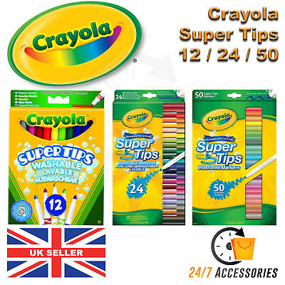 Crayola Supertips Washable/Lavable Felt Tip Colouring Pens Markers MultiColoured