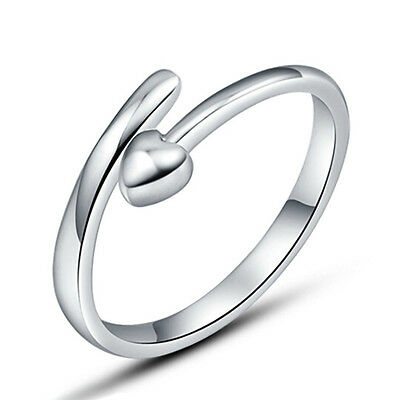 925 Silver Plated Opening Ring Finger Band Women Cheap Heart Rings Love Cute