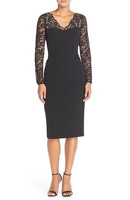 76038a05 MAGGY LONDON LACE Sleeves Crepe Sheath Dress ( size 6) - $129.00 ...