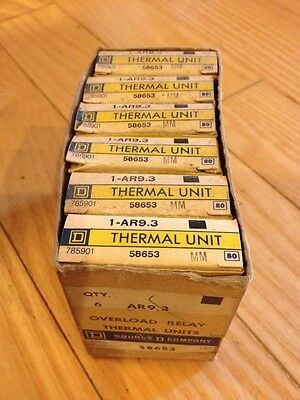 New Lot Of 6 Square D 58653 Type Ar 9.3 Overload Relay Thermal Units
