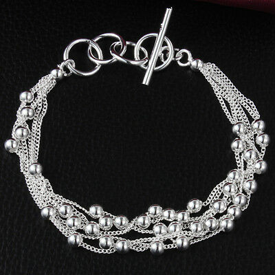 925 Silver Plated Beads Bracelet Gift Jewelry Hollow Women Chain New Bangle