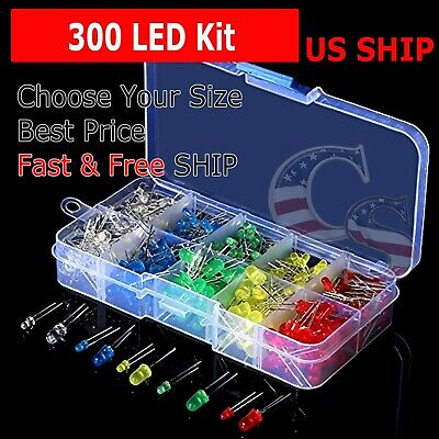 300 pcs 3mm 5mm LED Light White Yellow Red Green Assortment Kit DIY For Arduino