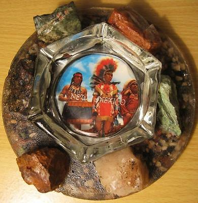Vintage New Mexico Native American Ashtray with Stone Circle Souvenir Ashtray
