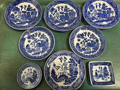 Lot Of 8 Blue Willow Butter Pat~ Occupied Japan And Unmarked