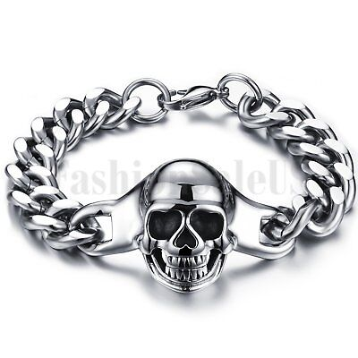 Punk Rock Polished Stainless Steel Gothic Skull Bracelet Men's Cuban Curb Chain