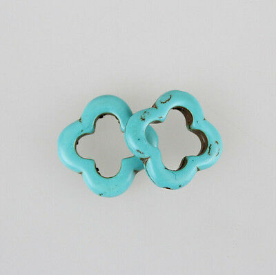10X Solid Turquoise Flower Loose Spacer Beads Charms Jewelry Makings DIY 20MM