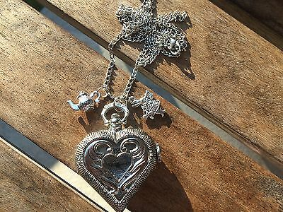 Steampunk Alice in Wonderland Heart Watch Necklace with Teapot & Rabbit Charms
