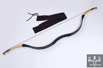 Archery Handmade Chinese Traditional Hunting Longbow Black Cow Leather 20-80lbs