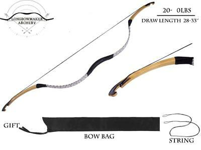 Chinese Traditional Archery Hunting White Snakeskin Longbow Recurve Bow 20-80lbs