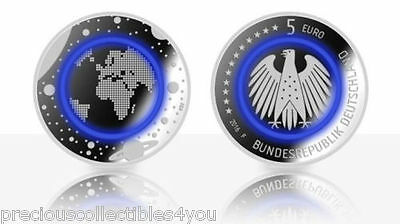 Unc German 5 Euro Brilliant Coin Planet Earth Blue Polymer Ring Exclusive