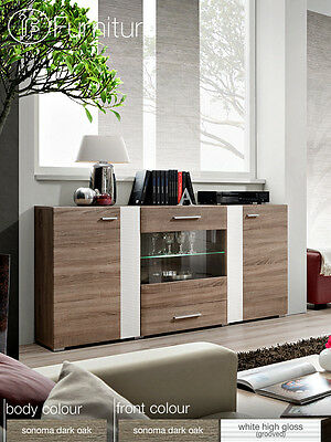 Modern Chest Drawers Cabinet Sideboard Buffet Cupboard Glossy Aleppo Free P&P