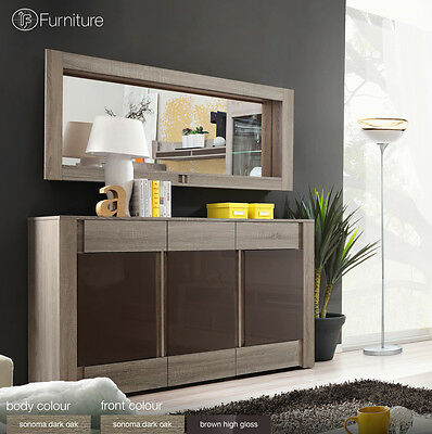 Modern Chest Drawers Cabinet Sideboard Buffet Cupboard Glossy Boston Free P&P