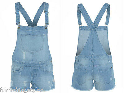 Girls Dungaree 100% Cotton Kids Jeans Denim Shorts Dress Jumpsuits 7-14 Years